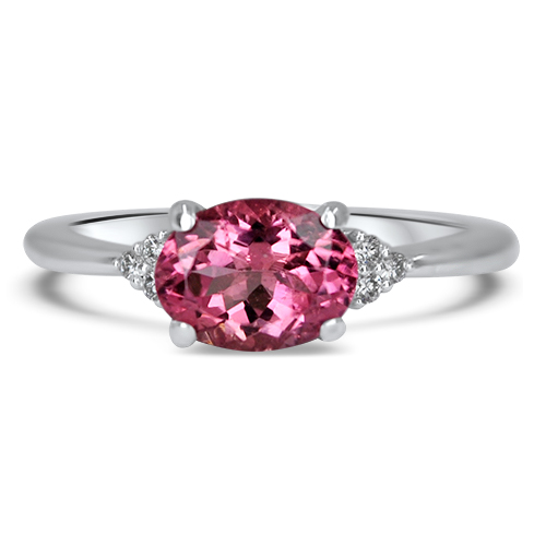 Pink East West Ring in 14KW and Diamonds