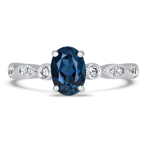 Blue Tourmaline and Diamond Ring in 14KW