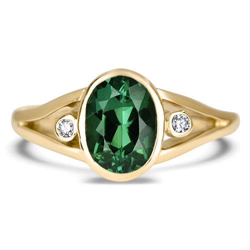 Oval Green Tourmaline and Diamond Ring 14KY