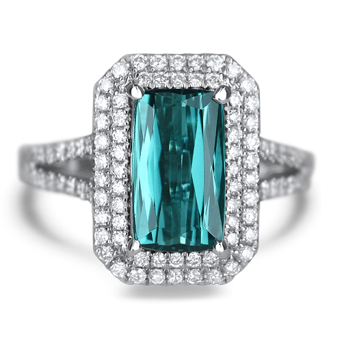 Blue Tourmaline and Diamond Ring
