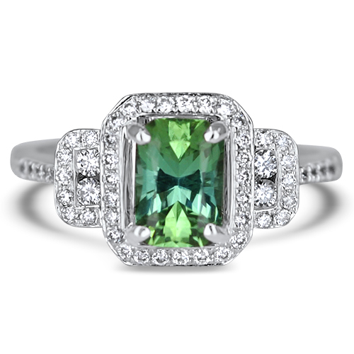 Maine Mint Green Tourmaline and Diamond Ring