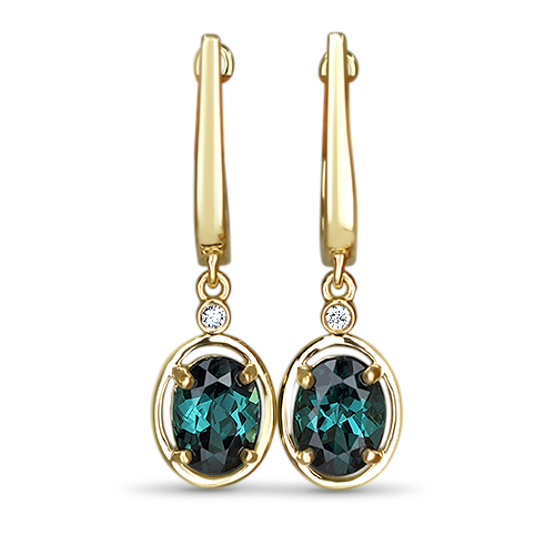 Blue Tourmaline in Yellow Gold Earrings