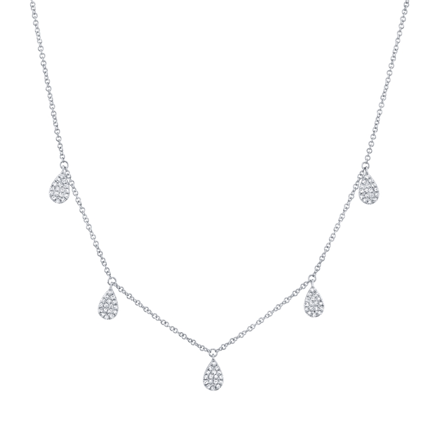 Multi Drop Diamond Pave Tear Drop Necklace