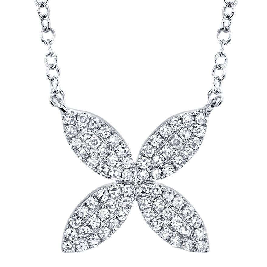 Diamond Flower Pendant 14kw
