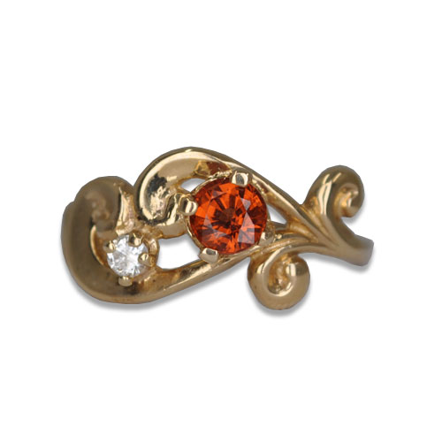 Orange Garnet Vintage Ring