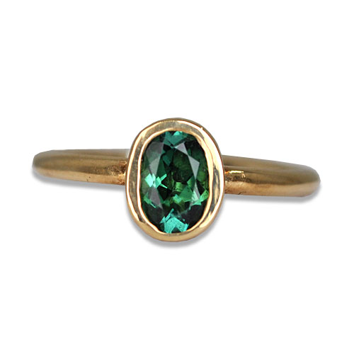 Blue Green Tourmaline Bezel Ring