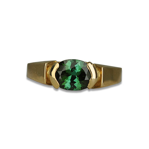 Maine Green Tourmaline Split Bezel Ring
