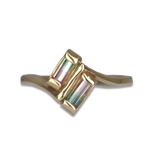 Watermelon Tourmaline By Pass Ring 14KY