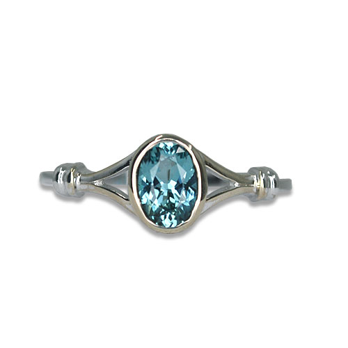 Maine Blue Tourmaline Ring 14KW