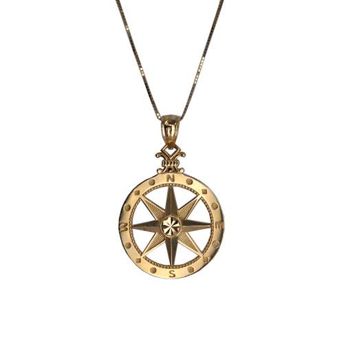Large 14KY Compass Pendant