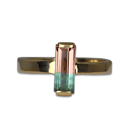 watermelon tourmaline ring 14ky