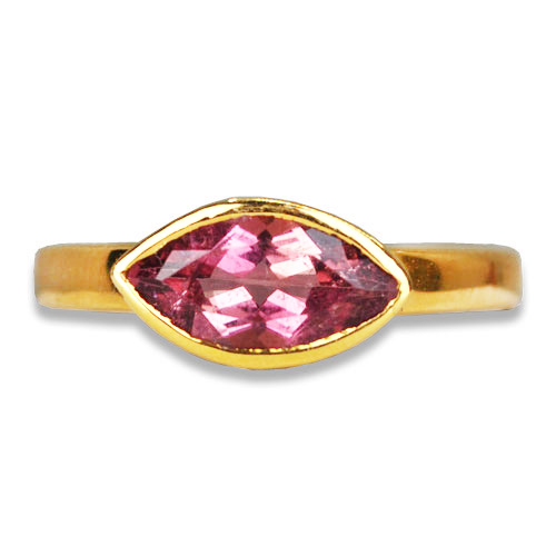 1.18ct Pink Maine marquise cut tourmaline bezel set in 14K yellow gold ring, set east to west.