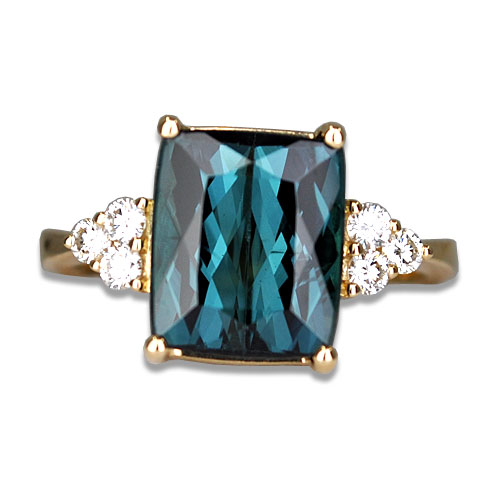 blue tourmaline and diamond ring 18ky