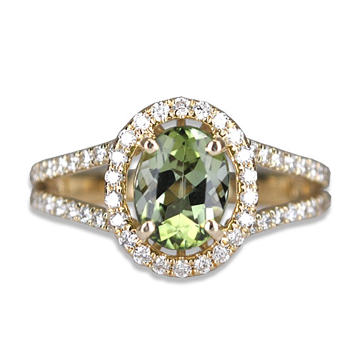 maine green tourmaline diamond ring
