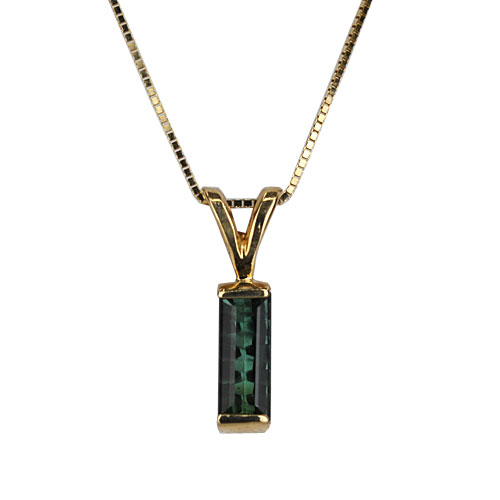 Maine Blue Green Bar Pendant 14KY