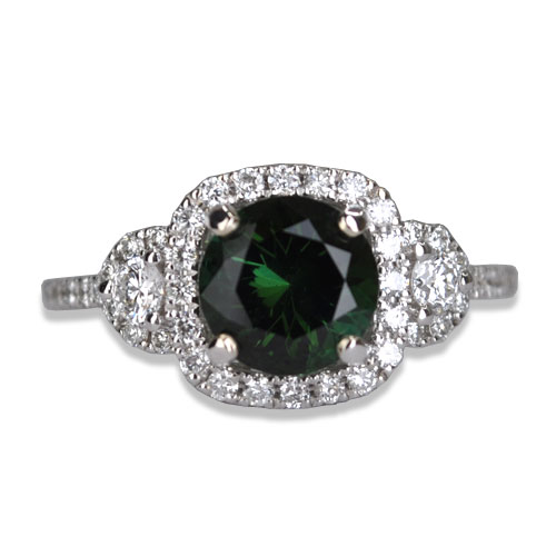 maine green tourmaline diamond ring in white gold