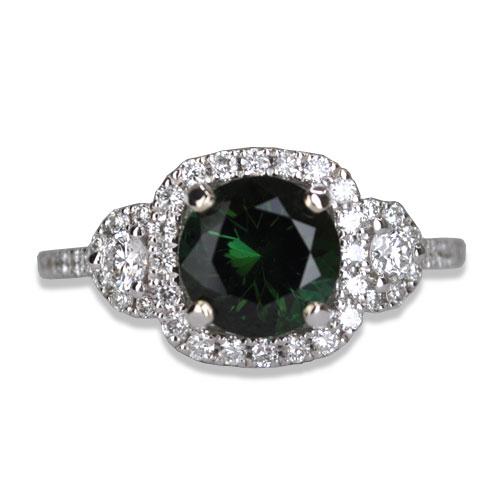maine green tourmaline diamond ring in white gold