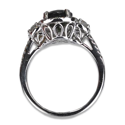 maine green tourmaline diamond ring in white gold profile