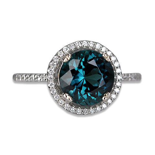 round blue tourmaline and diamond ring