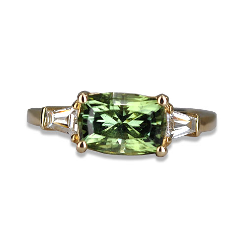 maine tourmaline green three stone ring