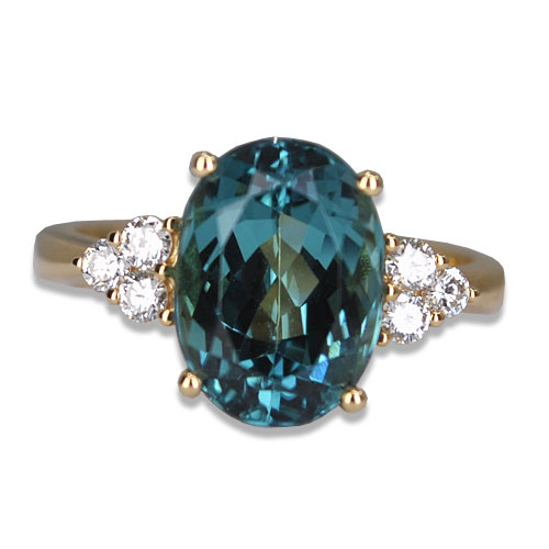 blue tourmaline three dories ring