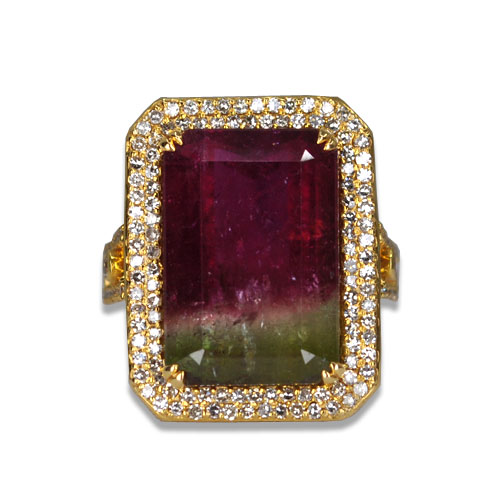 double halo watermelon tourmaline ring