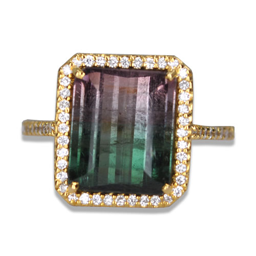 watermelon tourmaline diamond halo ring