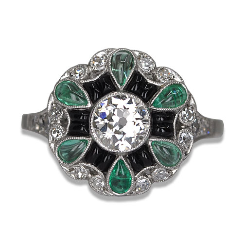 vintage onyx emerald and diamond ring in platinum