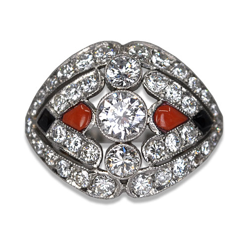 Vintage diamond, coral and onyx ring in platinum