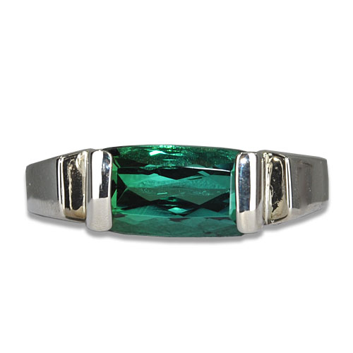 Blue Green Tourmaline E/W Ring 14KW