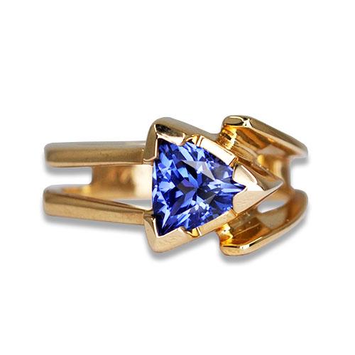 tanzanite trillion cut ring