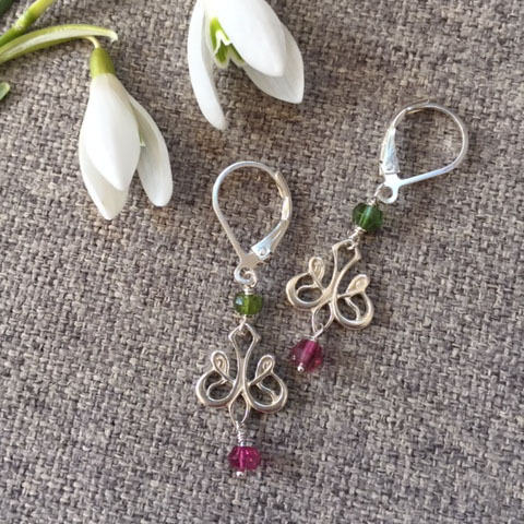 pink and green tourmaline silver earrings