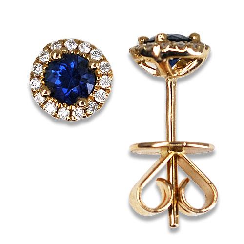sapphire diamond halo studs 14ky