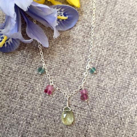 Multi Color Tourmaline Drop Necklace