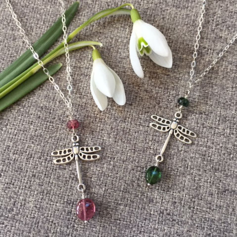 silver tourmaline dragonfly necklaces