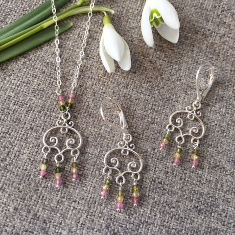 multi color tourmaline earring and necklace in silver