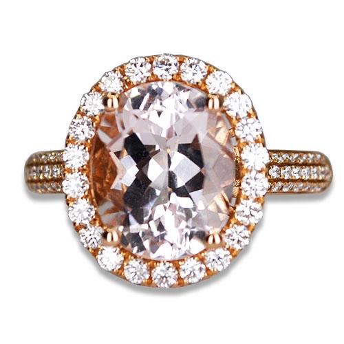 oval morganite and diamond ring