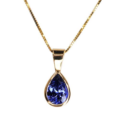 tanzanite bezel set pendant