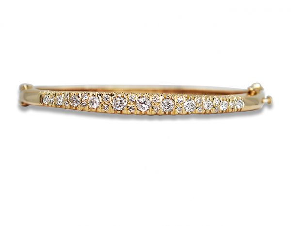 Estate Diamond Hinged Bangle 14KY