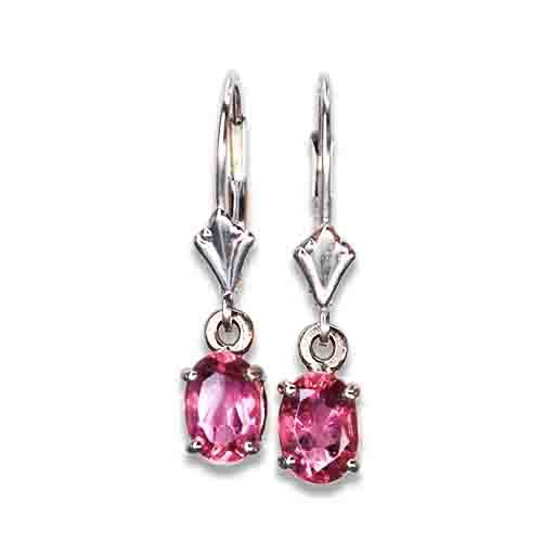 bright pink tourmaline dangle earrings 14kw