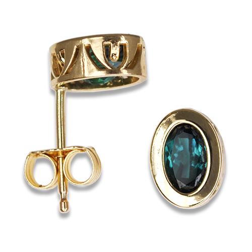 blue tourmaline bezel set earrings 14ky