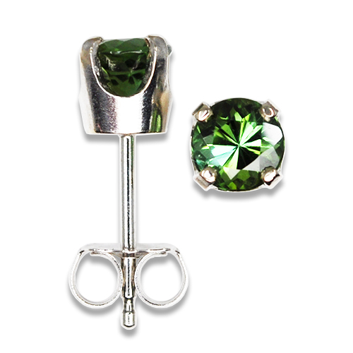 Green Tourmaline Studs 14KW