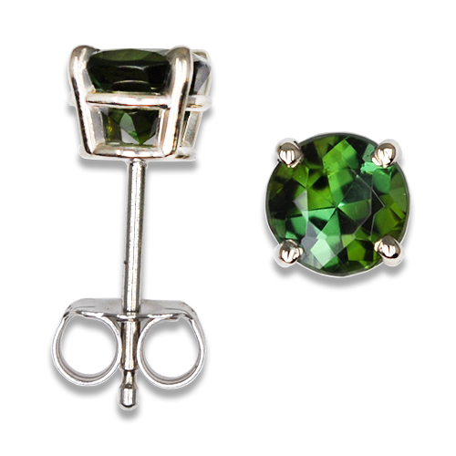 Rich Green Tourmaline Stud Earrings 14KW