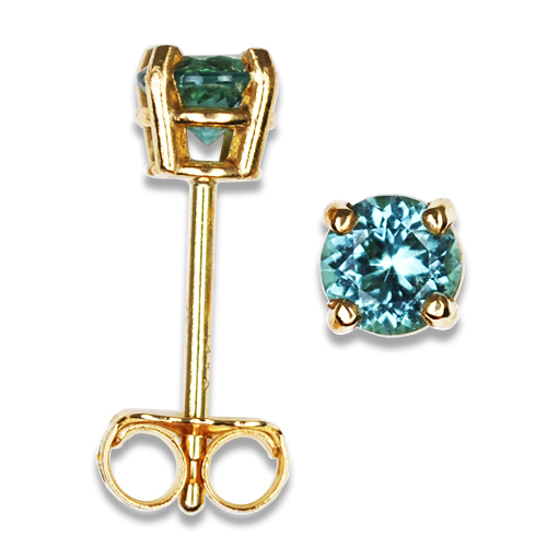 Ice Blue Maine Tourmaline Stud Earrings 14KY