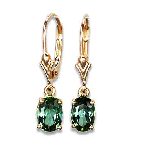 green tourmaline dangle earrings 14ky
