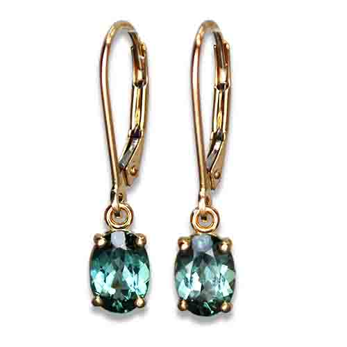 blue green tourmaline dangle earrings 14ky