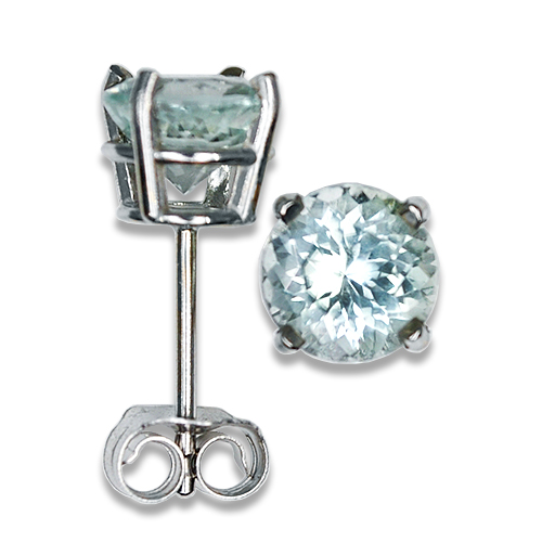 Maine Light Mint Tourmaline Stud Earrings 14KW