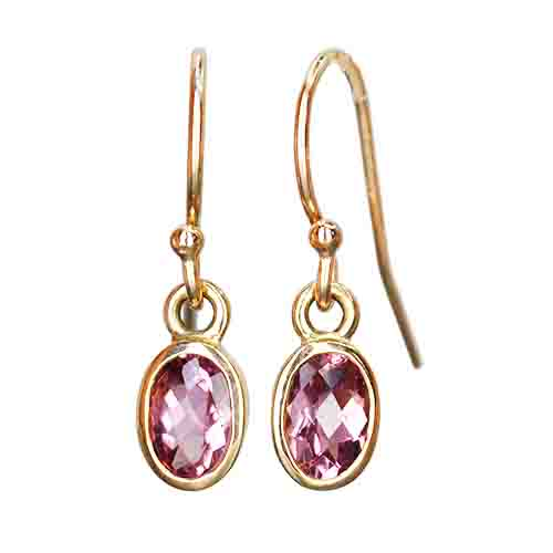 maine pink tourmaline dangle earrings 14ky