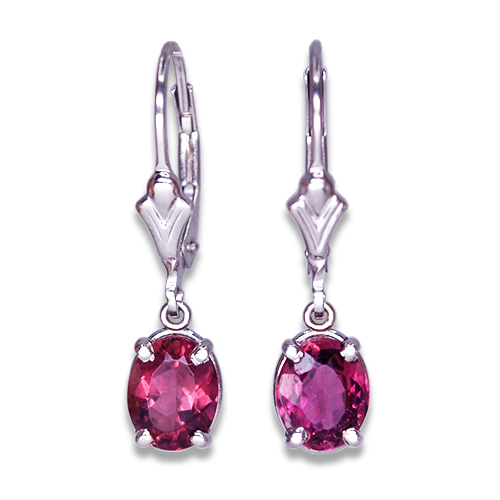 Oval Pink Tourmaline Dangle Earrings in 14KW
