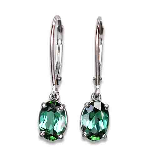 green tourmaline dangle earrings 14kw